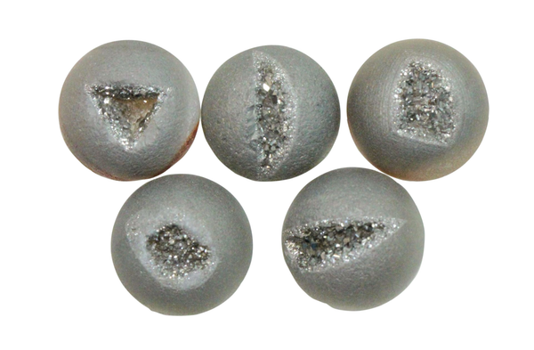 Natural Extra Fine Silver Grey Drusy Agate (Druzy) - Round Cabochon - Brazil - AAA+ Grade