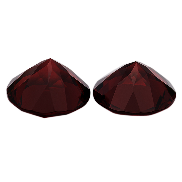 Pair Natural Extra Fine Deep Red Garnet - Round - Mozambique - AAA+ Grade