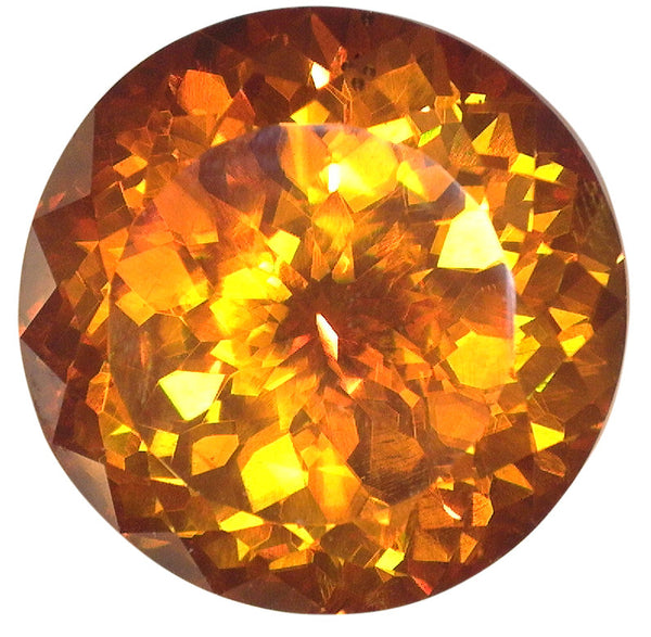 12.37ct - 13mm Natural Extra Fine Deep Orange Gold Sphalerite - Round Portuguese Cut - Spain