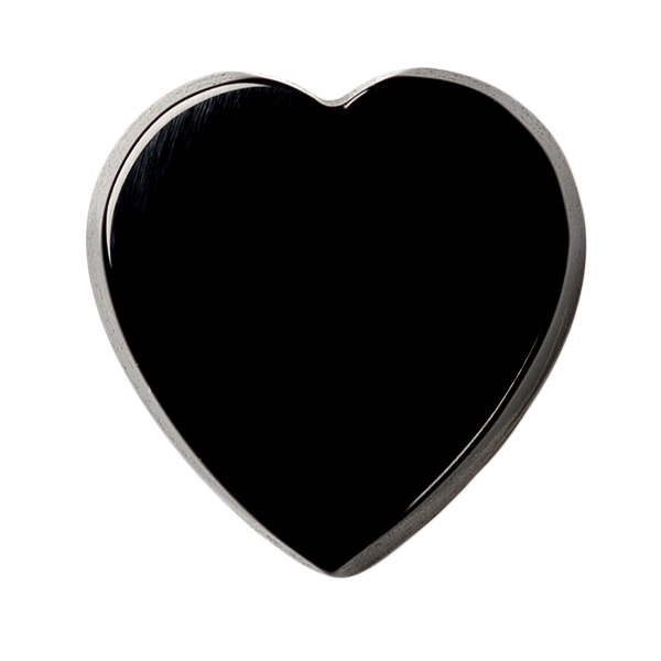 Natural Extra Fine Black Onyx - Heart Buff Top Cabochon - Brazil - AAA+ Grade