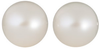 Pair Natural Fine White Freshwater Pearl - Round - Half-Drilled - China - AAA Grade