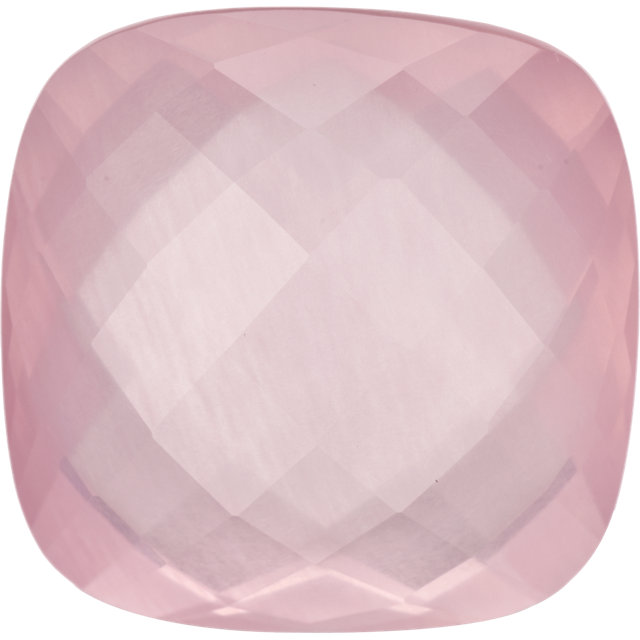 Natural Extra Fine Rose Quartz - Cushion Double-Sided Checkerboard - Brazil - AAA+ Grade