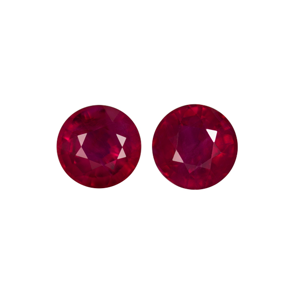 Pair Natural Fine Rich Red Ruby - Round - Mozambique - AAA Grade