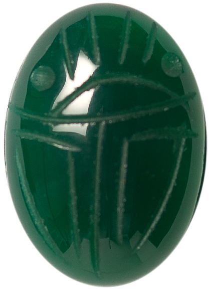 Natural Fine Green Onyx Scarab - Oval - Brazil - AAA Grade