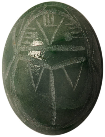 Natural Fine Rich Green Wyoming Jade Scarab - Oval - USA, Wyoming - AAA Grade
