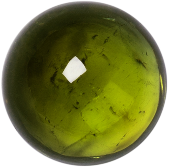 Natural Fine Green Tourmaline - Round Cabochon - Brazil - AAA Grade