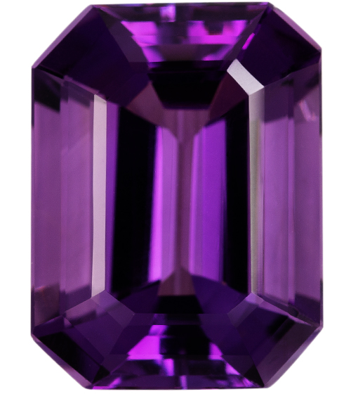Natural Fine Royal Purple Amethyst - Emerald Cut - Brazil - AAA Grade