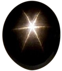 Natural Extra Fine Black Star Sapphire - Oval Cabochon - AAA+ Grade - Unheated, Untreated - Thailand