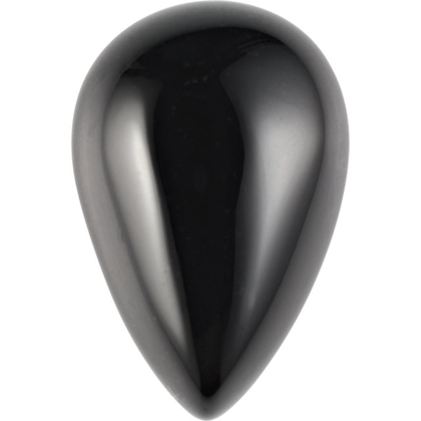 Natural Extra Fine Black Onyx - Pear Cabochon - Brazil - AAA+ Grade
