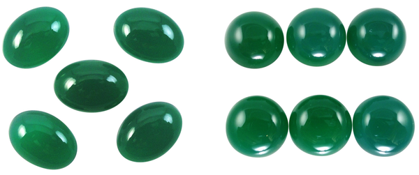 Natural Extra Fine Green Onyx - Round & Oval Cabochon - Brazil - AAA+ Grade