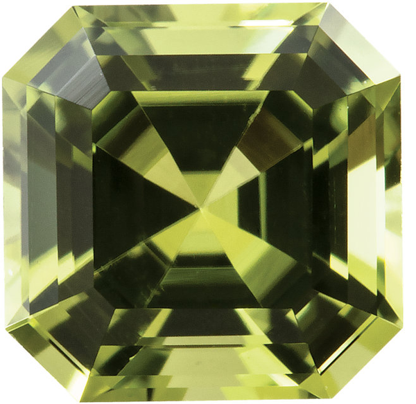 Natural Extra Fine Yellow Green Peridot - Asscher Cut - Pakistan - AAA+ Grade