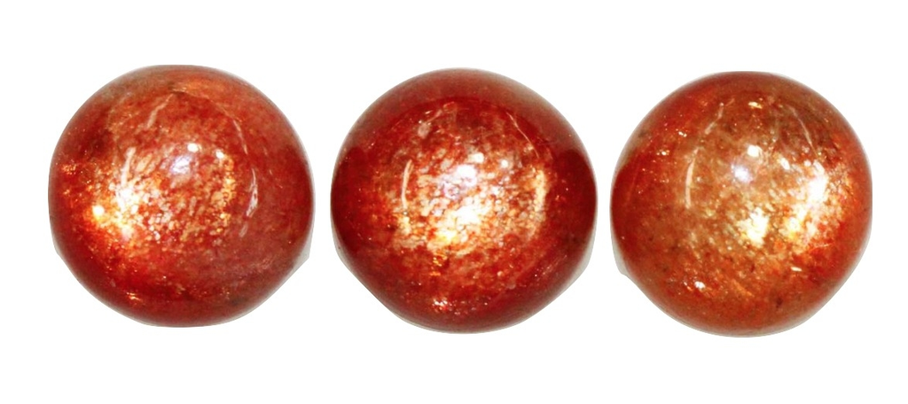Natural Extra Fine Rich Red Orange Sunstone - Round Cabochon  - AAA+ Grade