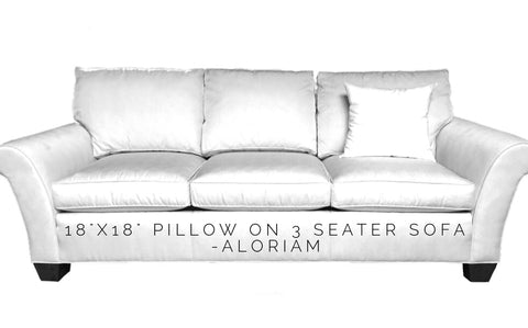 How 18x18 pillow looks on 3 seat sofa