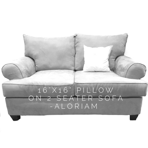 How a 16x16 pillow looks on a 2 seat sofa