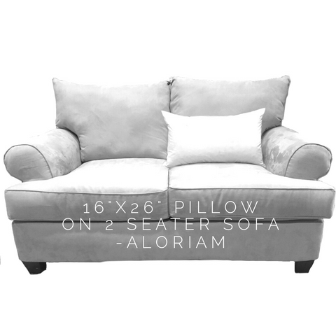 16x26 pillow on 2 seat sofa