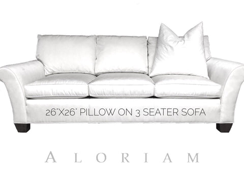 How a 26x26 pillow looks on a 3 seater sofa