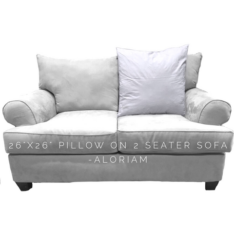 How a 26x26 pillow looks on a 2 seater sofa