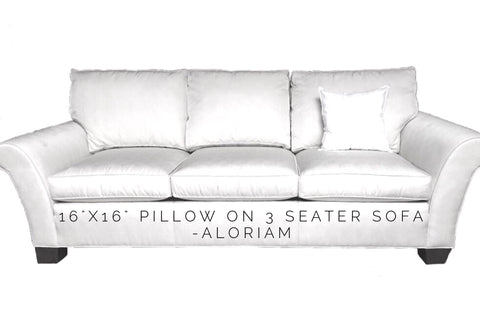 How a 16x16 pillow looks on a 3 seater sofa