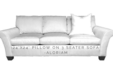 How a 24x24 pillow looks on a 3 seat sofa
