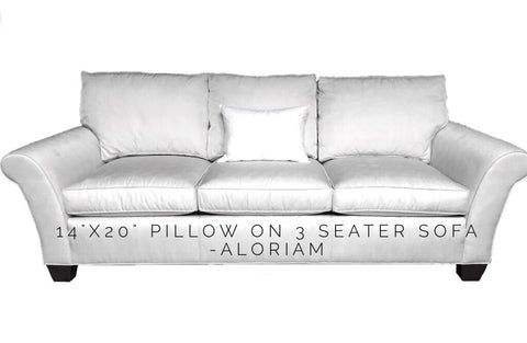 14x20 pillow on 3 seater sofa