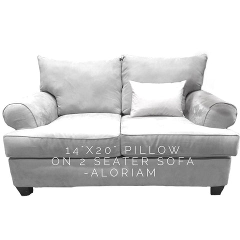 14x20 pillow on 2 seat sofa
