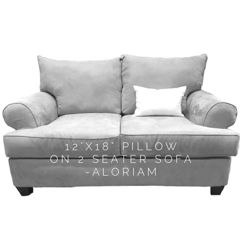 How a 12x18 pillow looks on 2 seater sofa