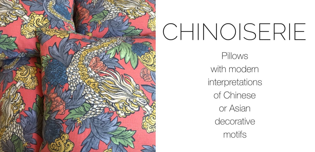 Chinoiserie Pillows by Aloriam: Pillows with modern western interpretations of Chinese or Asian decorative motifs