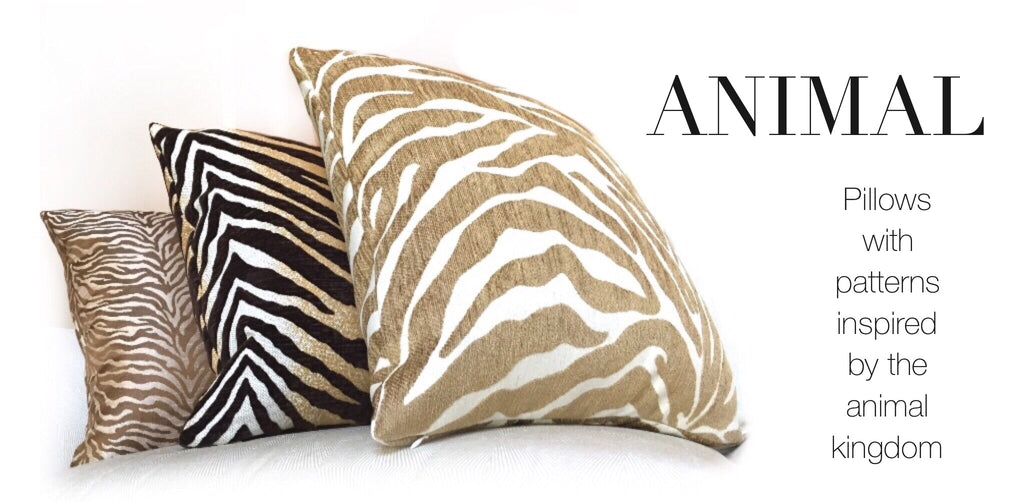 Animal print pillows by Aloriam: Pillows with patterns inspired by the animal kingdom such as tiger and leopard prints