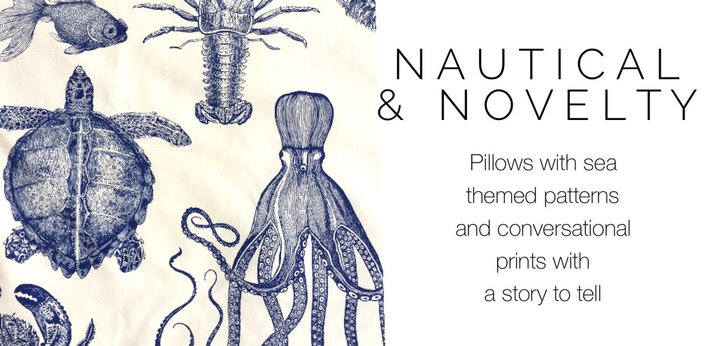 Nautical and Novelty Print Pillows by Aloriam: Pillows with sea themed patterns and conversational prints with a story to tell