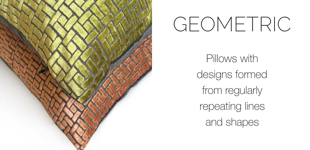 Geometric pillows by Aloriam: Pillows with designs formed from regularly repeating lines and shapes