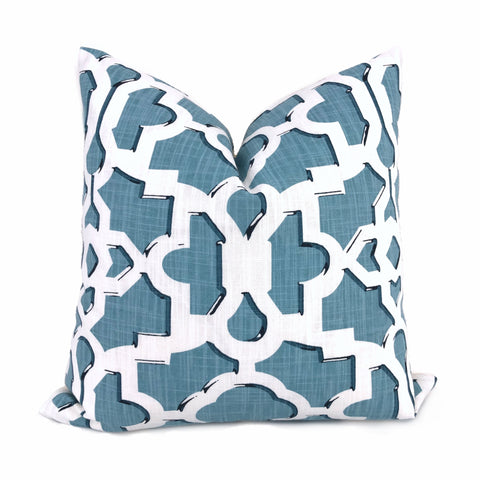Artega Sky Blue White Lattice Fretwork Pillow Cover by Aloriam