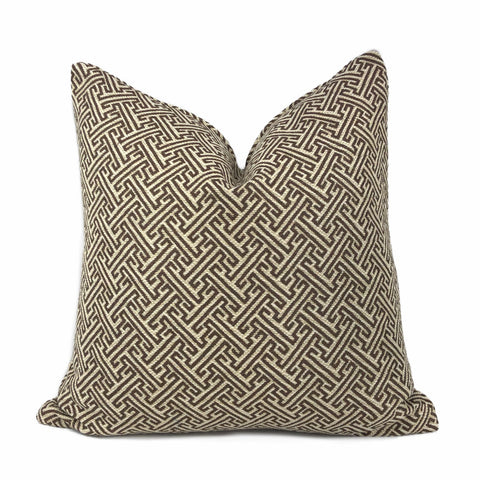Atlas Greek Key Geometric Coffee Brown Beige Pillow Cover