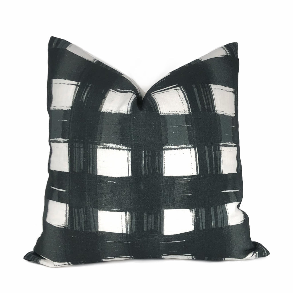 Brentwood Black & White Plaid Checks Print Pillow Cover by Aloriam