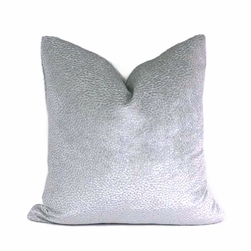 Comtessa Silver Ice Velvet Dots Pillow Cover by Aloriam