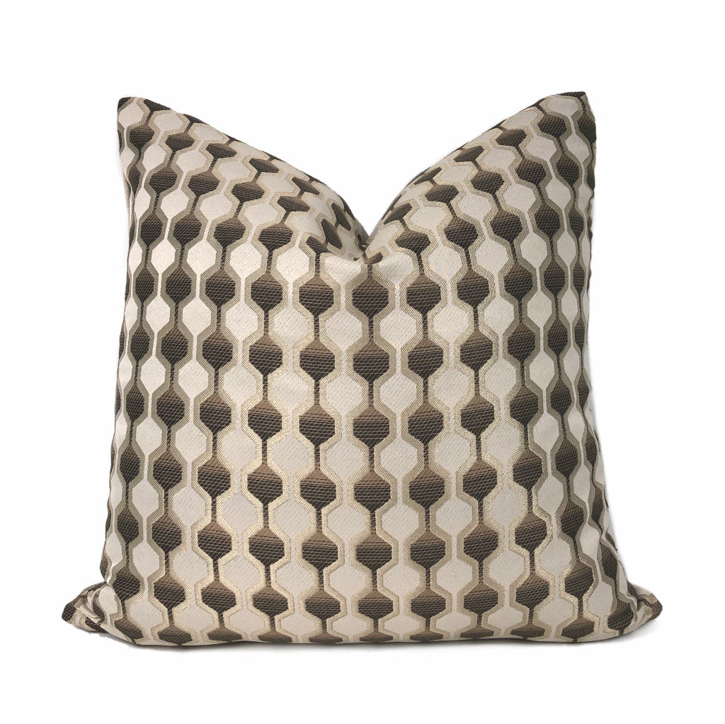 Conrad Geometric Hexagon Brown Beige Pillow Cover