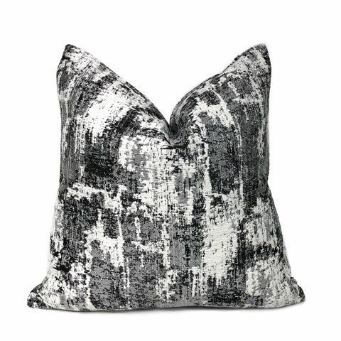 Conti Ocean Gray & White Abstract Woven Texture Pillow Cover by Aloriam
