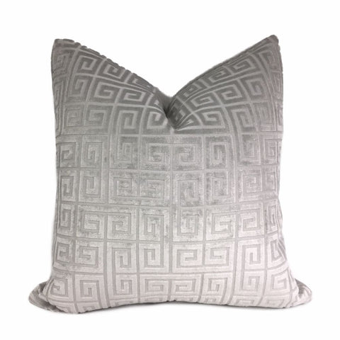 Cornelius Light Gray Greek Key Geometric Velvet Pillow Cover by Aloriam