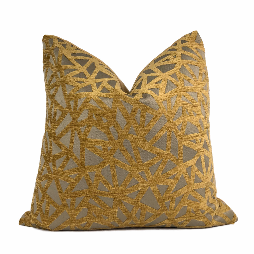 Kirby Golden Umber Brown Web Chenille Pillow Cover
