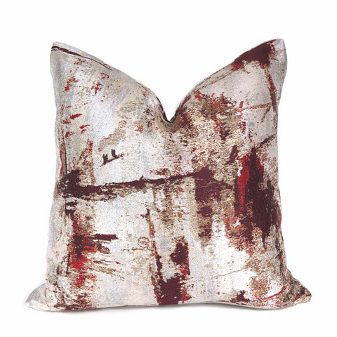 Lumina Metallic Red Gold Cream Quartz Texture Pillow Cover