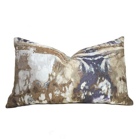Modern Abstract Marble Geology Beige Brown Purple Pattern Pillow Cover