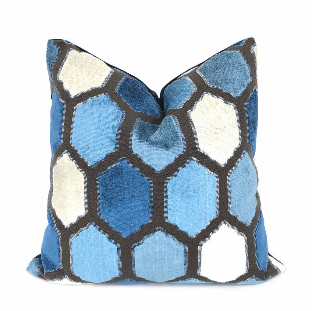 Dorsey Blue Geometric Tile Velvet Pillow Cover by Aloriam