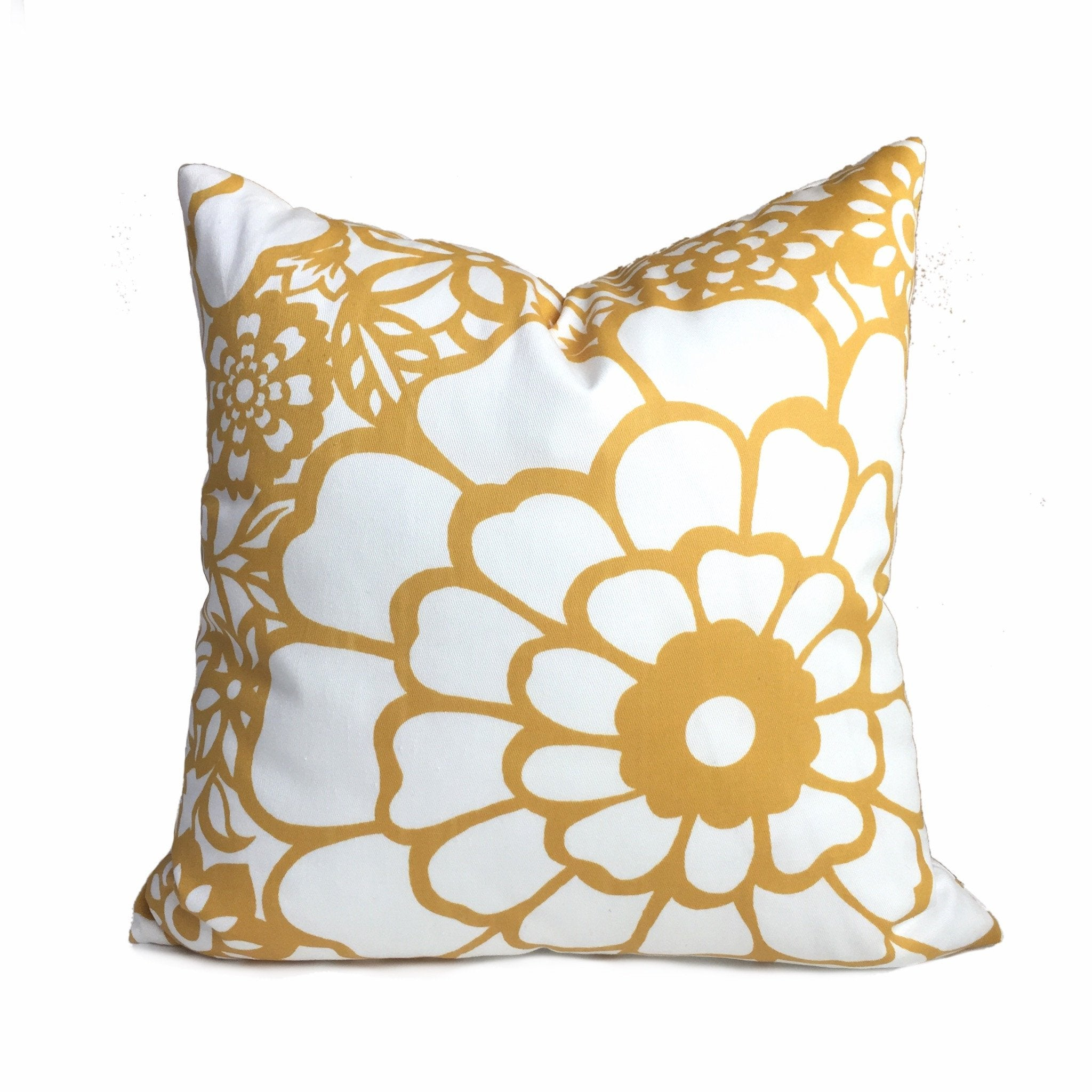 Thomas Paul Seedlings Fiesta Yellow White Floral Pillow Cover by Aloriam