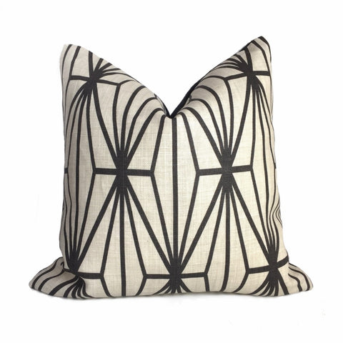 Kelly Wearstler Katana Ebony Geometric Lee Jofa Groundworks Designer Linen Pillow Cover