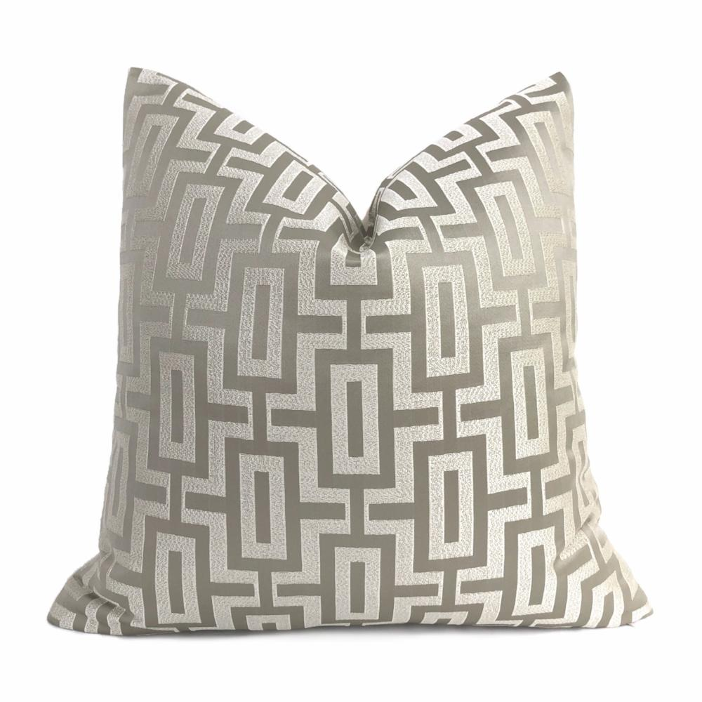 Varick Linen Beige Geometric Linked Blocks Pillow Cover