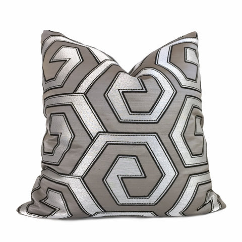Designer Two Tone Silver Pewter Gray Embroidered Geometric Pillow Cover