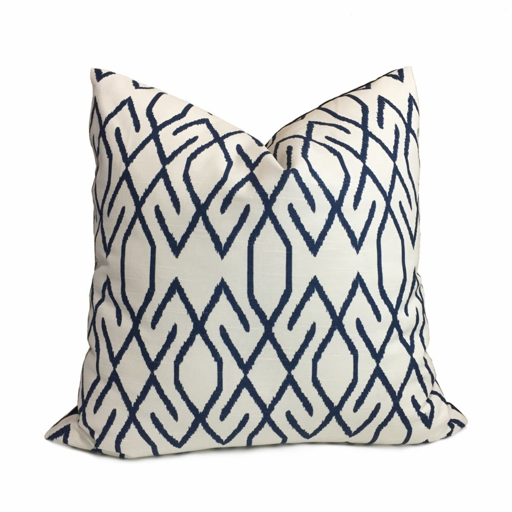 Zoe Ikat Lattice Navy Blue Off-White Geometric Pillow Cover (Made From Lacefield Designs Fabric)