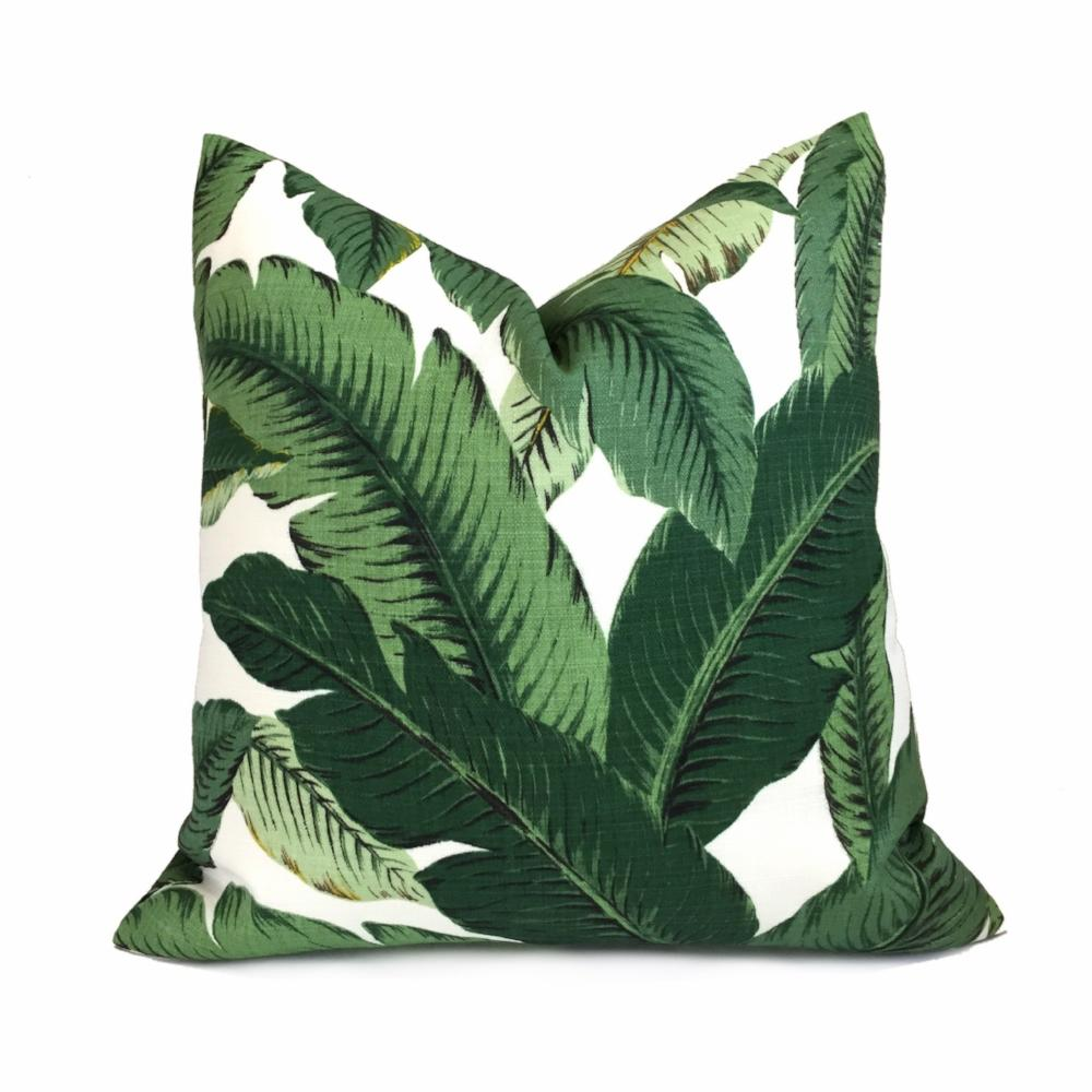 Tommy Bahama Swaying Palm Leaves Green White Indoor Outdoor Pillow Cover