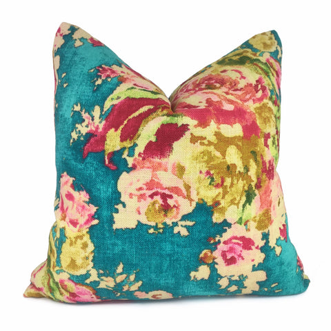 Turquoise Teal Aphrodite Floral Cotton Linen Print Pillow Cover