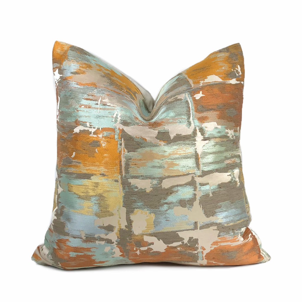 Robert Allen Beacon Hill Annina Mandarin Modern Abstract Silk Linen Pillow Cover by Aloriam
