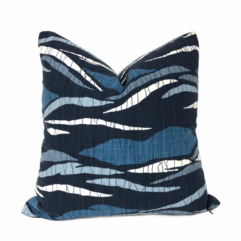 Robert Allen Lotus Hills Navy Blue & White Abstract Cotton Print Pillow Cover by Aloriam